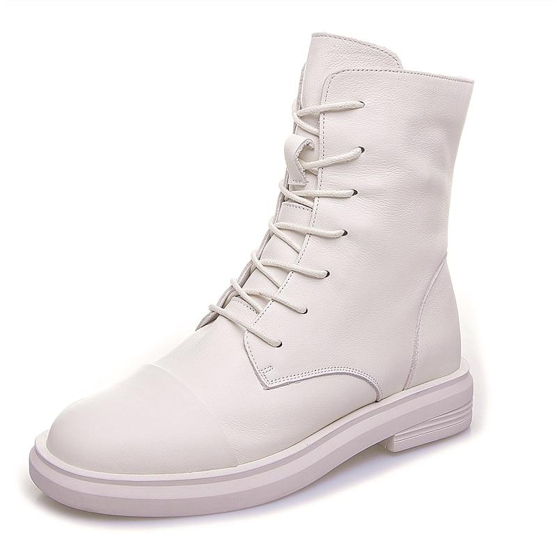 Martin botas de couro das mulheres rendas até sapatos de inverno marca branca couro genuíno knight boot artesanal equitação sapato 2019 salto baixo - 5