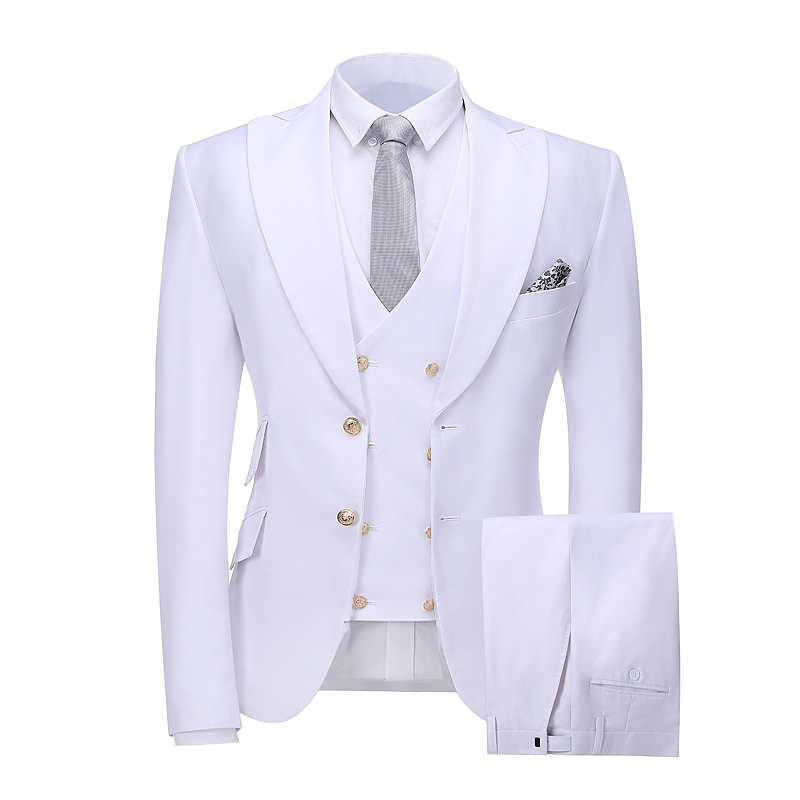 New Design 2019 Elegant Brand Slim Fit Smoking Suit Men Costume 3 Pieces Homme White Prom Tuxedo Groom Suits For Men Wedding
