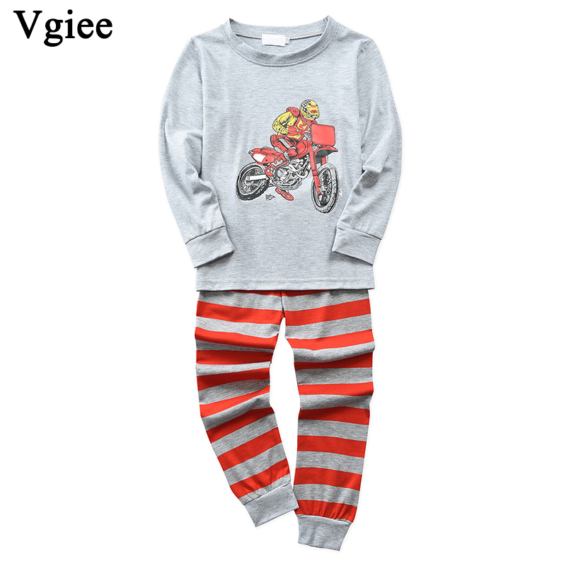 Vgiee Crianças Roupas Meninos Meninas Outono Inverno Completa Algodão Unisex Padrão para Moto Roupa Dos Miúdos Do Bebê Da Menina Definir CC631 Crtoon
