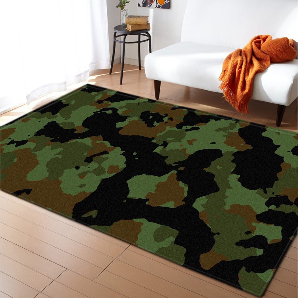 Modern Parlor Area Rugs Flannel Camouflage Boys Bedroom Rug Floormat Outdoor Picnic Mat Rugs and Carpets for Living Room