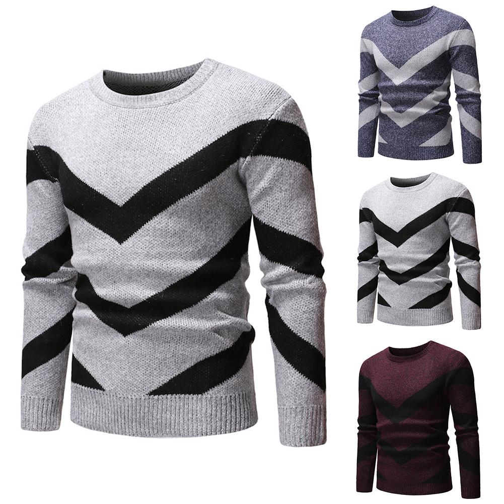 Men Color Block Wavy Stripe Round Neck Long Sleeve Sweater Slim-Fit Jumper-Top Free Shipping Gifts For Man