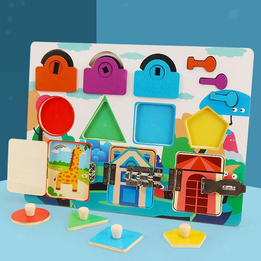 Обучающие игрушки Монтессори в форме блокировки, познавательные игрушки, занятая доска, пазл для раннего развития, разблокирующая игрушка ...