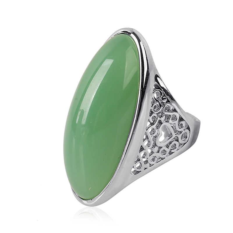 K's Gadgets แฟชั่น Hollow เงินสีดำและสีเขียว Semi-precious หินขนาดใหญ่ขนาดแหวนผู้หญิงและชาย