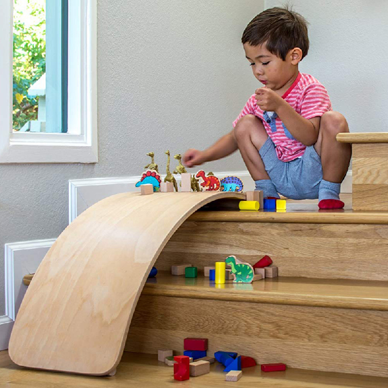 Child Balance Toy Wooden Seesaw Indoor Curved Board Baby Double Wooden Outdoor Seesaw Yoga Board Outdoor Toys for Kids free ship - 4