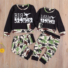 Casual Infant Baby Boy Camo Clothes Set Brother Matching Outfit Kids Cotton Long Sleeve T-shirt Tops Dinosaur Pants Clothing Set