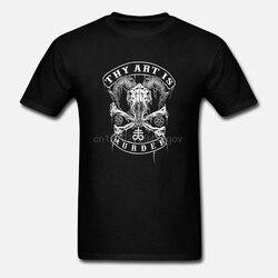 Authentic thy arte é assassinato baphomet crânio camiseta preto s m l xl 2xl 3xl nova manga curta o-pescoço algodão t camisa superior