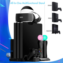 PS4 Pro Slim PS VR Vertical Stand Cooling Fan PS4 Move Controller Charger Charging Dock For Sony Playstation 4 PSVR Accessories ps4 ps4 slim ps4 pro ps vr game disk storage tower console stand holder w controller move charging dock station cooling fan