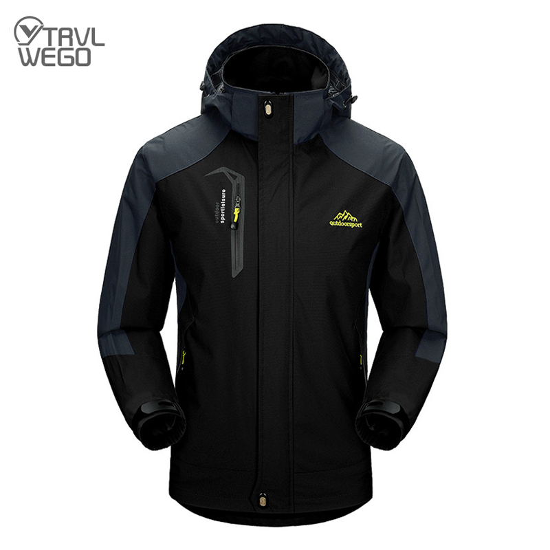 TRVLWEGO Camping Hiking Jacket Men Autumn Outdoor Sports Coats Climbing Trekking Windbreaker Travel Waterproof Jackets Black