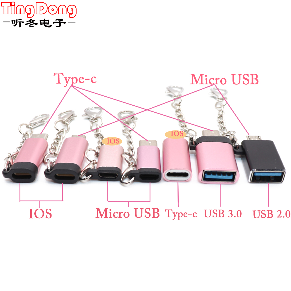 TingDong Keychain Cable USB Type C Adapter OTG Micro USB For Type C Converter Adapter  For IPhone  To Type C/Micro Usb  Adapter