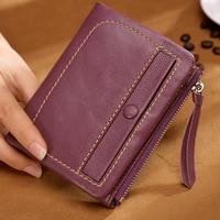 Cross Border for Sheepskin Short Female Wallet Zipper Wallet Short Cute Wallet Leather Wallet Purse
