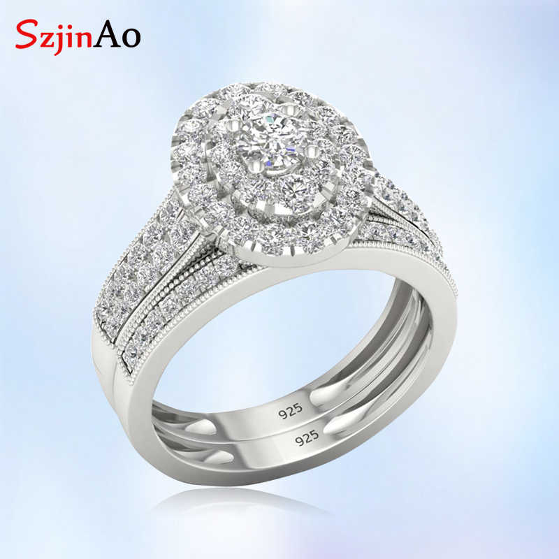 szjinao Luxury White Gold  Wedding Accessories Oval CZ Ring Sets Ethnic Punk 925 Sterling Silver Rings For Women Bridesmaid Gift