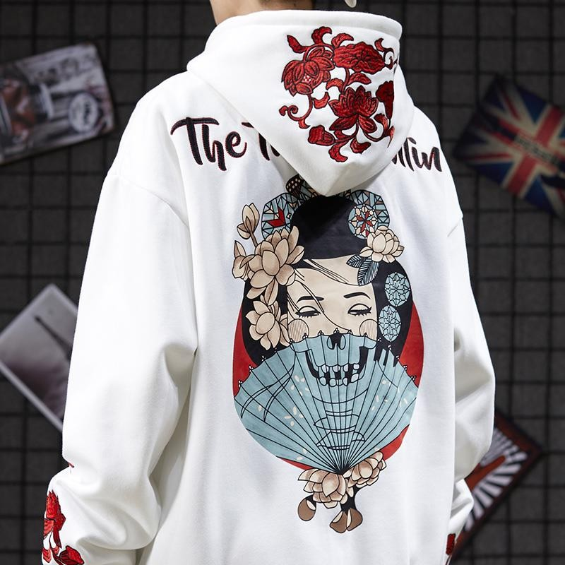 NiceMix New Women Unisex Hoodies Black Pink Letter Print 2020 Hip-hop Street Japanese Geisha Embroidery Lovers Hoody Sweatshirt
