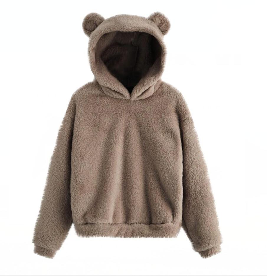 Lovely Fleece Animal Hoodies Women Sweatshirt Long Sleeve Warm Bear Ear Hooded Plush Hoody Pullover Lady Winter Tops 7