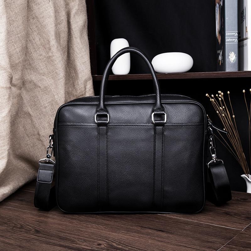Leather Men's Briefcase Vintage Business Computer Bag Fashion Messenger Bags Man Shoulder Bag Postman Male Handbags