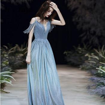 Evening Dresses Blue It's Yiiya R211 Elegant Spahetti Strap Tassel Robe De Soiree 2020 Gradient Boat Neck Long Party Vestidos