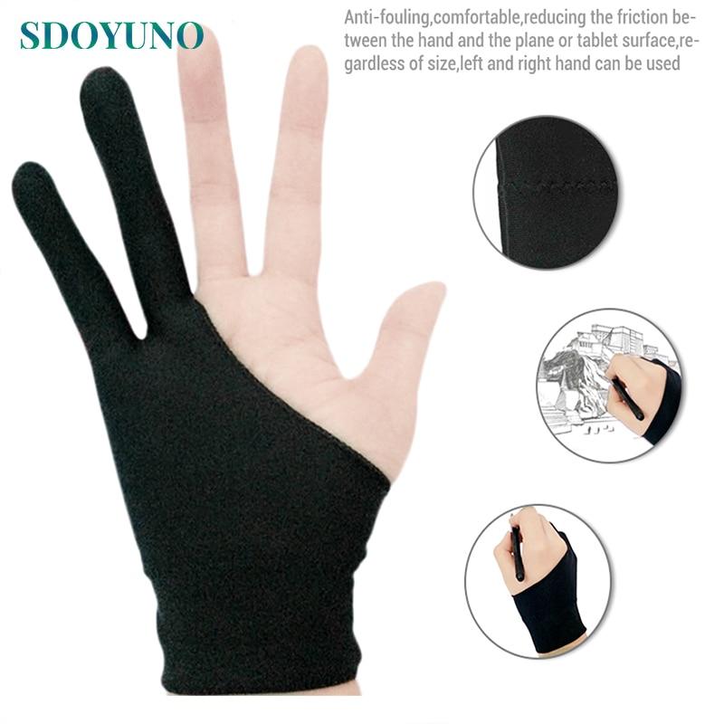 Графический планшет для рисования и ручки, бытовые перчатки, перчатки с двумя пальцами, противообрастающие перчатки для художника, правая и левая руки, черные перчатки свободного размера