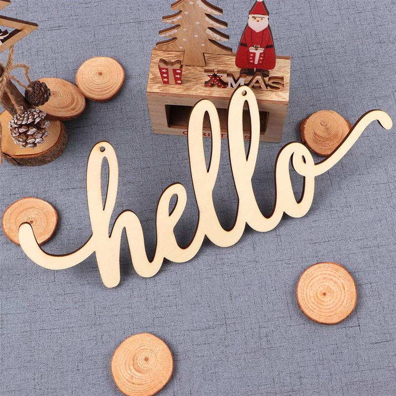 Christmas Ornaments Hello Wood Sign Wall Decor Wooden Letters DIY Block Words Sign Wooden Door Art Decoration (35x14x0.5cm)