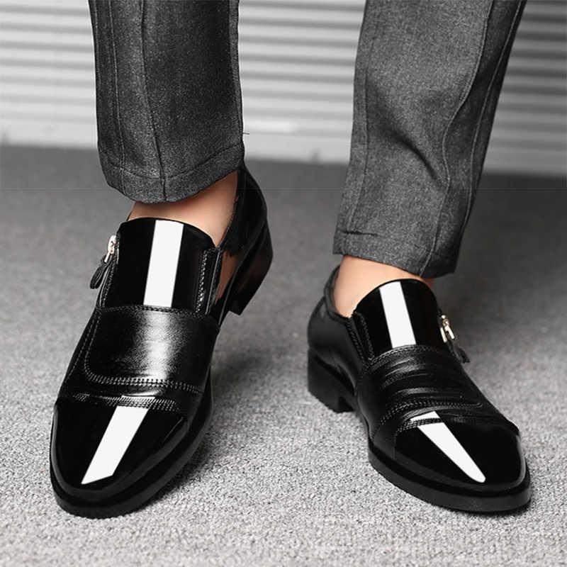 Mazefeng Cổ Điển Kinh Doanh Nam Đầm Thời Trang Thanh Lịch Chính Thức Cưới Giày Nam Slip On Công Sở Oxford Giày Cho Nam đen