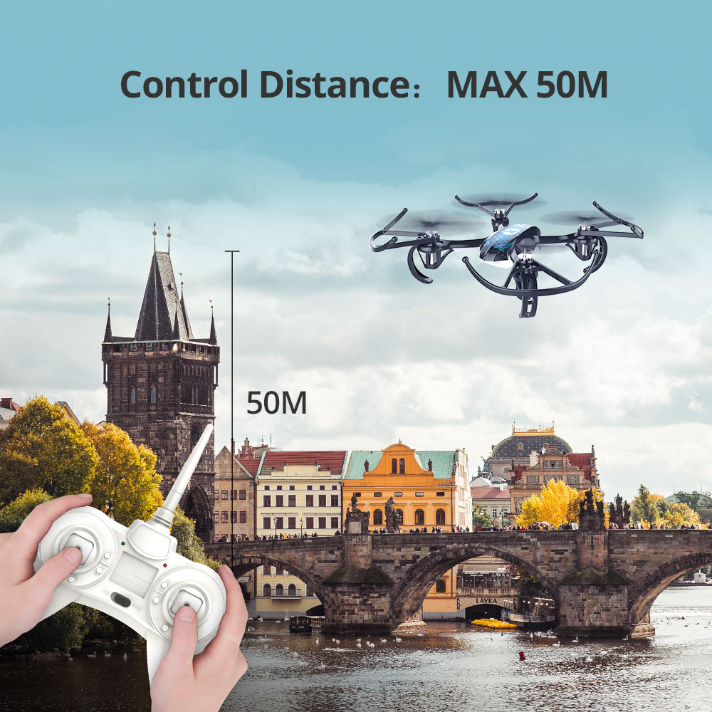Holy Stone HS170 Predator Mini RC Drone Helicopter 2.4Ghz 6-Axis Gyro 4 Channels Quadcopter 3 Speed Mode Wind-resistant Drone (Blue Drone)