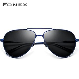 Image 2 - FONEX Reinem Titan Polarisierte Sonnenbrille Männer Luftfahrt Sonnenbrille für Männer Neue Fahren Outdoor Aviador UV400 Shades 8507