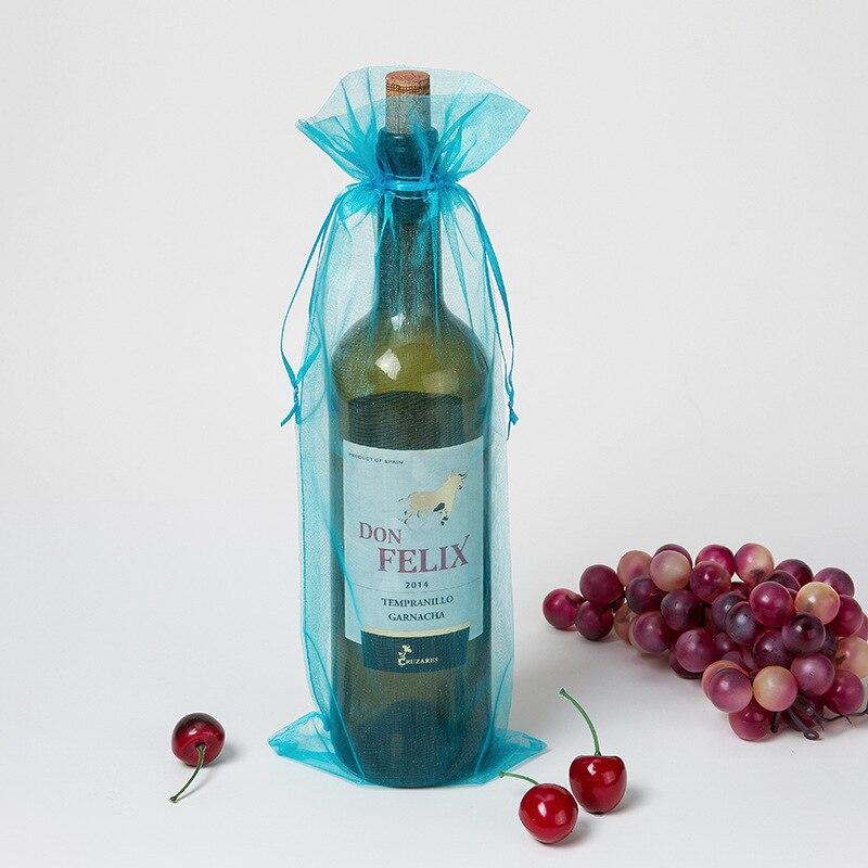 100 peças organza garrafa de vinho sacos de presente