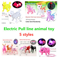 Toys Horse-Deer Traction Unicorn Light Pig Electronic-Toys Music Walking Girl Dog And