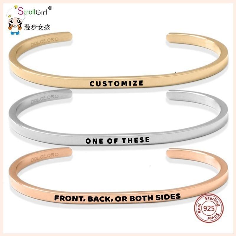 Sg 925 pulseira de prata inspirador personalizado personalizar gravado carta pulseira & bracelete para jóias de moda feminina 2019 novo.