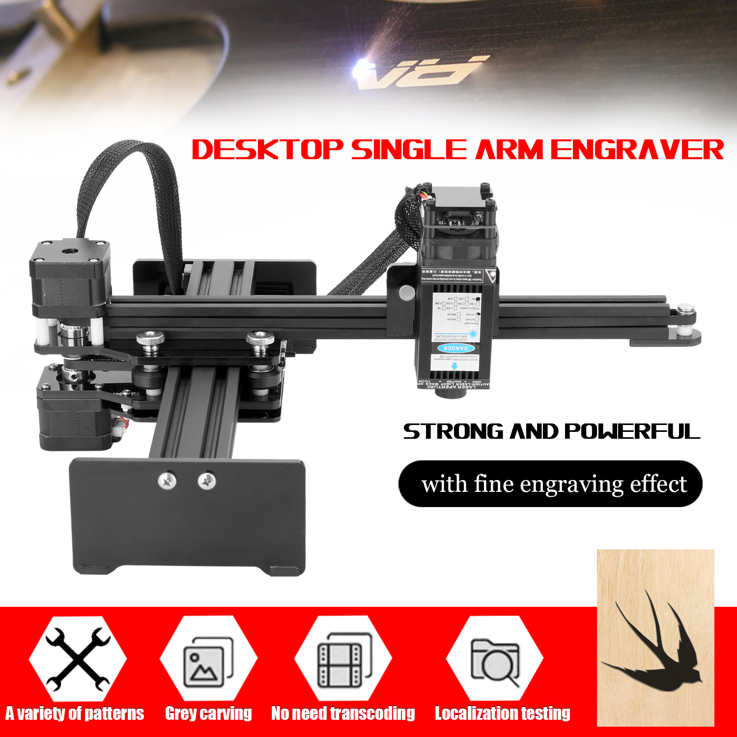 7W Small Laser Engraving Machine Desktop Single Arm Engraver Portable DIY Engraving Carving Machine Mini Carver With U Disk