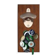 Yooap Magnetic wine bottle opener beech wood wall mounted cap beer retro refrigerator sticker