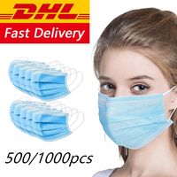 DHL Fedex Masks Ship Within 24 Hours In Stock 3 Ply Blue Non woven Face Mouth Mask Disposable Masks Anti Dust For Adult Care Hot