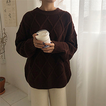 Ailegogo Winter Women Thickness Warm Sweater Casual Female Argyle Knitted Pullovers Solid Color Loose Ladies Knitwear Tops 3