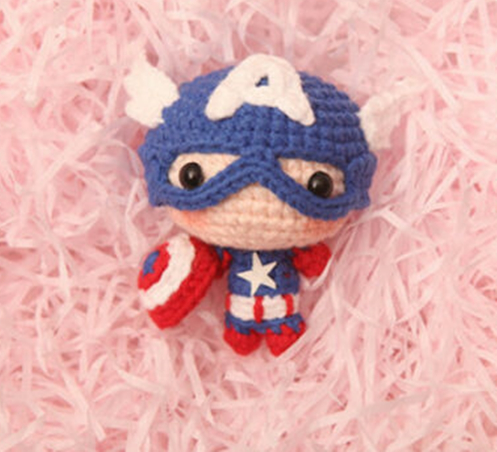 Hand-made Marvel Captain America 3 Civil War Steve Sweater Doll Weave Keyring Be