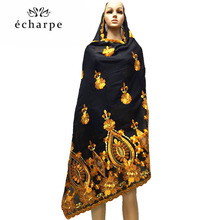 O novo africano lenços femininos muçulmanas grandes bordados algodão cachecol wharf toalha e confortável