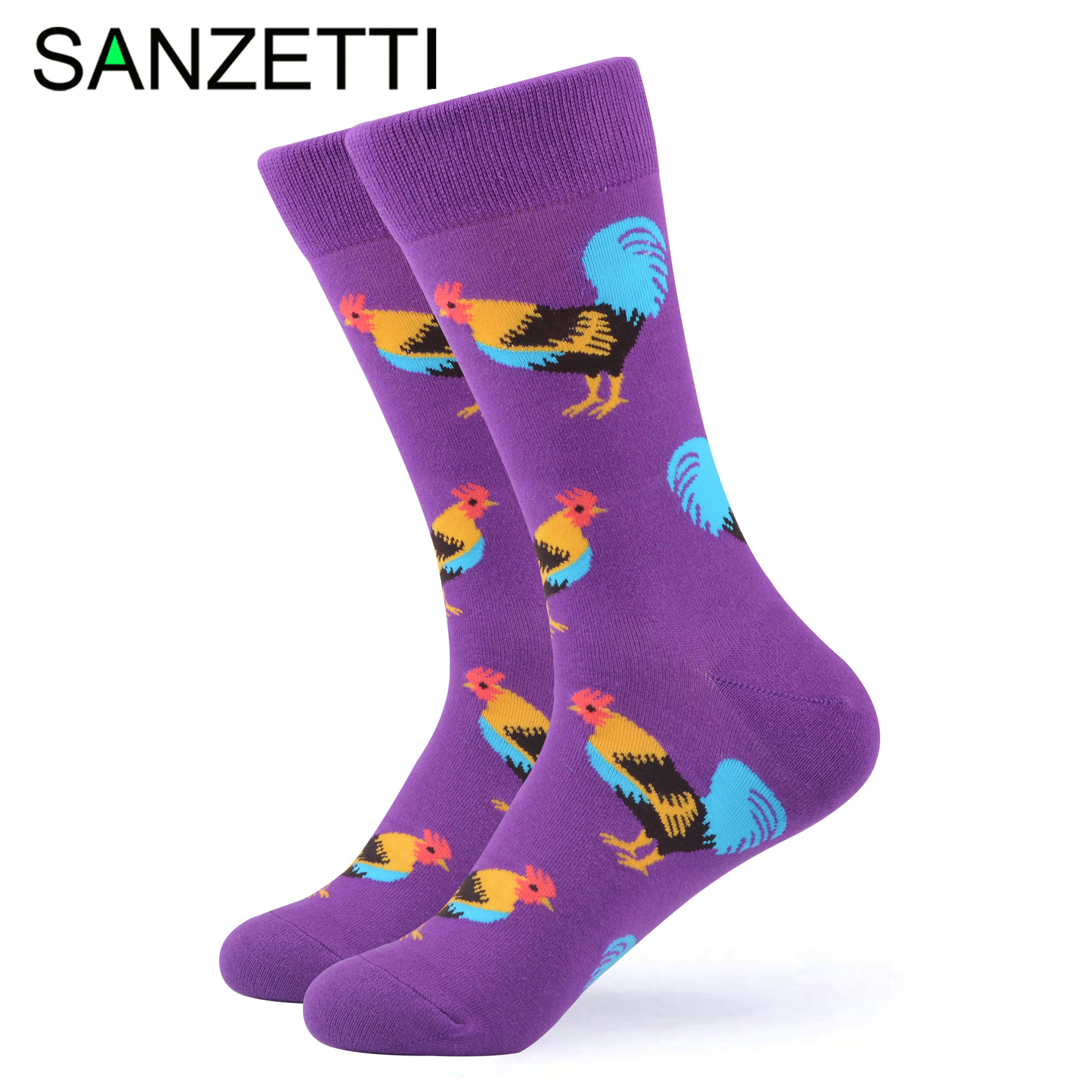 SANZETTI 1 Pair Colorful Bright Women Socks Novelty Combed Cotton Cute Party Cake Donuts Pretty Gifts Wedding Dress Happy Socks