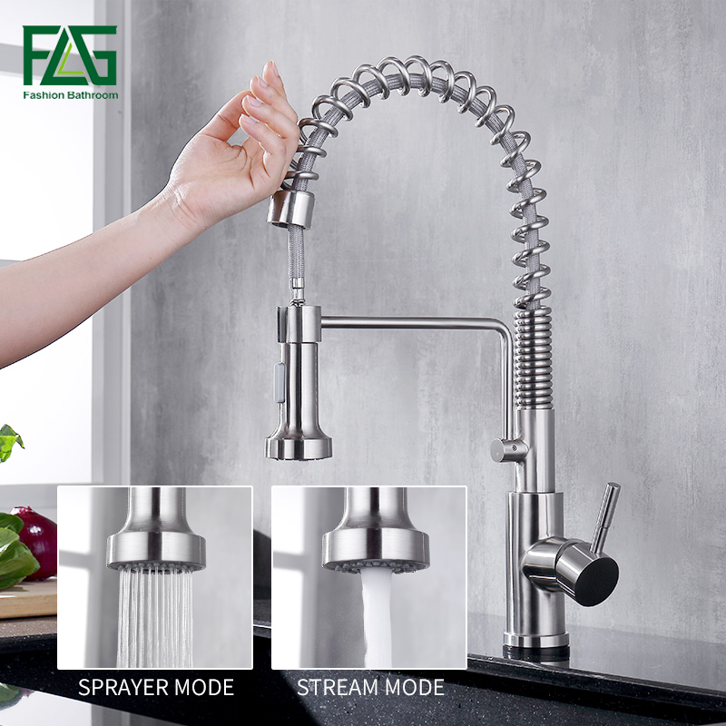 FLG Brushed Nickel Sensor Touch Kitchen Spring Faucet Sensitive Smart Touch Kitchen Tap Pull Out Spring Kitchen Sense Faucets