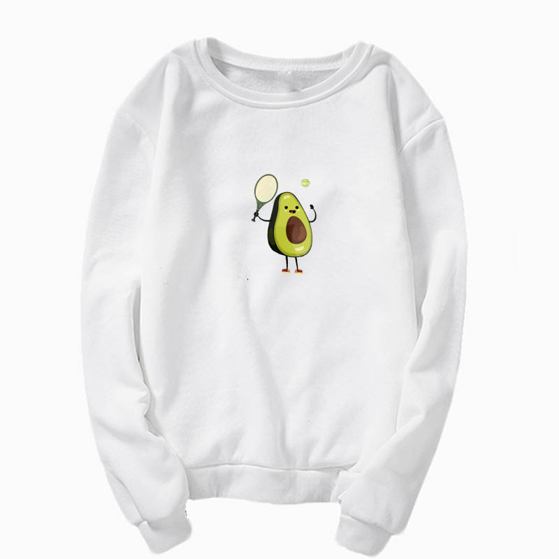 2019 Kpop Harajuku Crew Neck Sweatshirt Green Avocado Print Cute Kawaii Avocado Badminton Pullover Sweatshirt