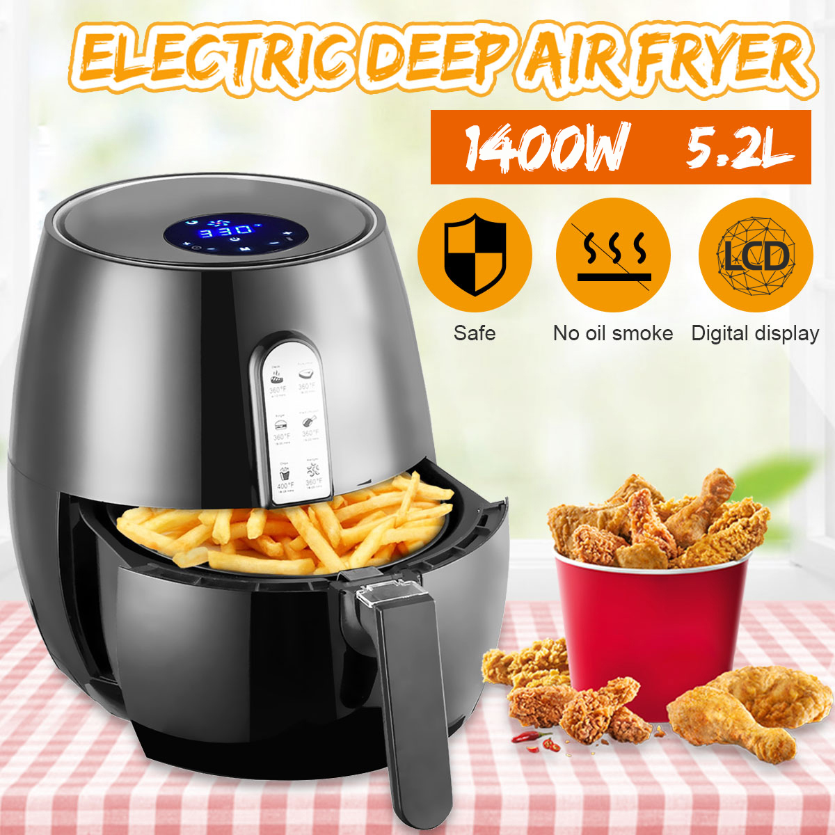 1400W 5.2L Health Fryer Cooker Smart Touch LCD Airfryer Pizza Oil free Air Fryer Multi function Smart Fryer for French fries 1