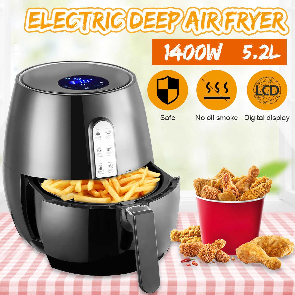 1400W 5.2L สุขภาพ Fryer หม้อหุงข้าวสมาร์ท Touch LCD Airfryer พิซซ่า Oil free Air Fryer หลายฟังก์ชั่นสมาร์ท Fryer สำหรับ french fries