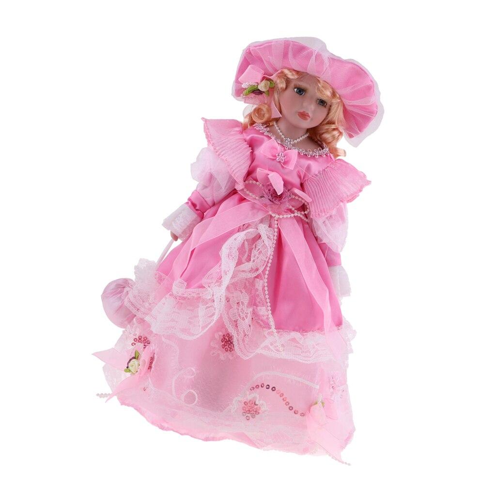 40 см Милая фарфоровая леди кукла с платьем принцессы розовый и стенд домашний Дисплей Декор подарок Куклы      АлиЭкспресс