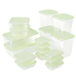 17 sztuk/zestaw lodówka Crisper plastikowy pojemnik do przevhowywania pojemnik na jedzenie mikrofalowe pudełko do przechowywania świeżych produktów szczelnie zamknięty pojemnik na żywność do lodówki do kuchni w Skrzynki i pojemniki od Dom i ogród na