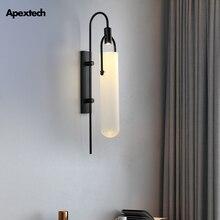 Lámpara LED de tubo de vidrio de arte del hierro americano, lámpara de pared estilo Loft Retro moderno, luces de pared de salón, luz de noche para habitaciones de Hotel
