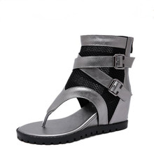 Summer high heels Women sandals Mesh breathable wedge shoes black silver Clip toe ladies Heighten women