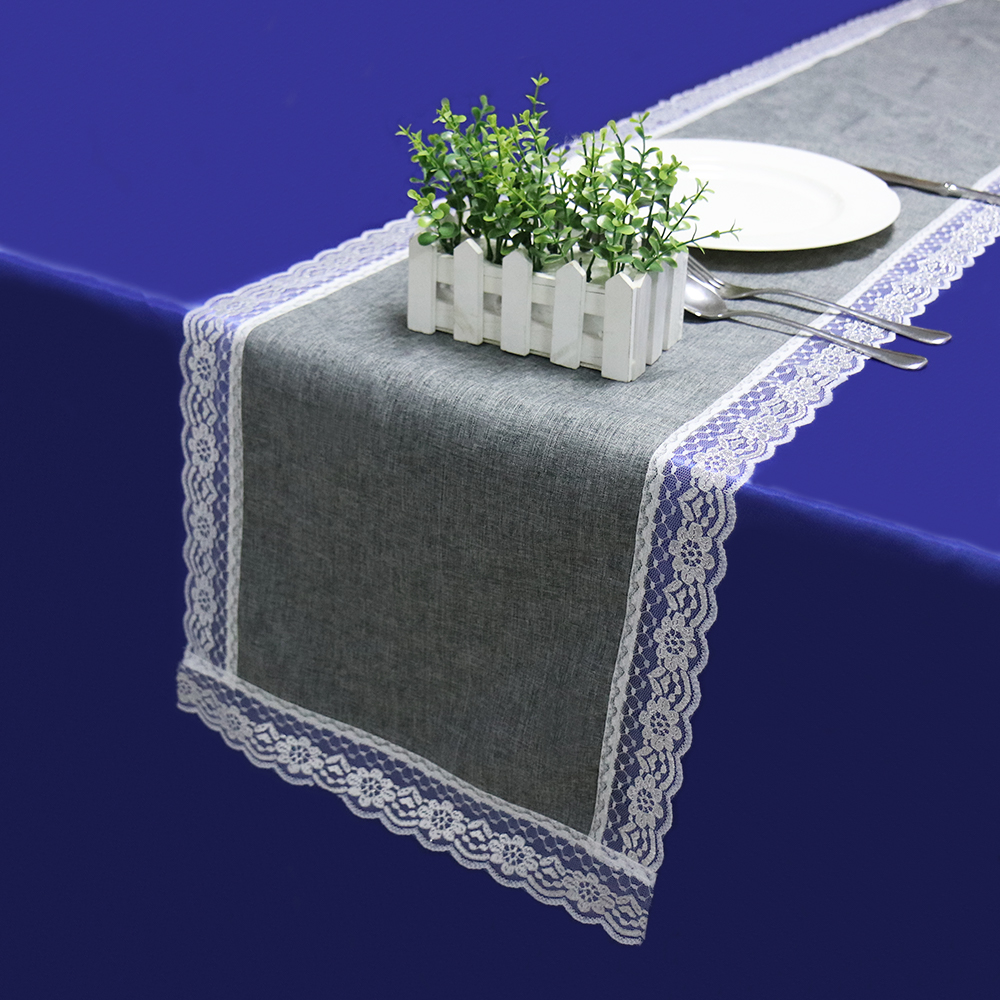 1pcs Table Runners Modern With Lace Natural Imitated Linen Table Cloth Table Cover For Wedding Party Home Decor