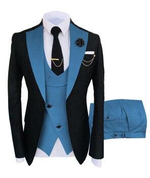 New Costume Slim Fit Men Suits Slim Fit Business Suits Groom Black Tuxedos for Formal Wedding Suits Jacket Pant Vest 3 Pieces 16
