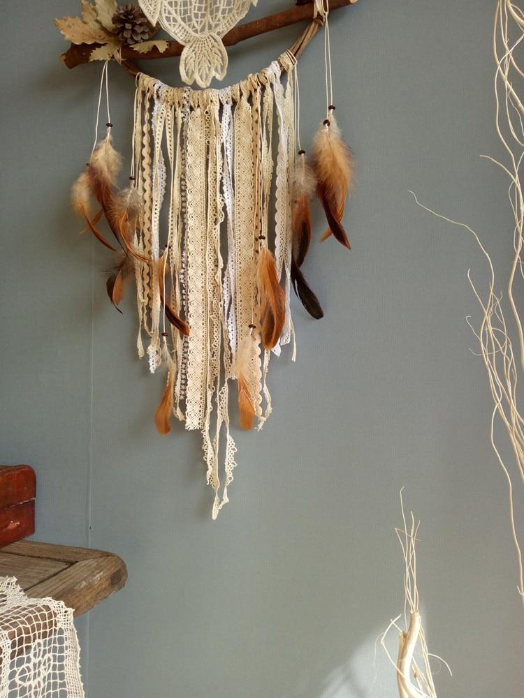 Ручной работы Ловец снов ветряные колокольчики Висячие обруч из ротанга Сова перо домашний декор - 2