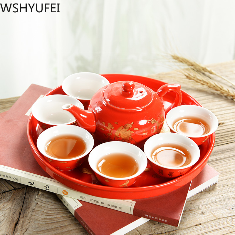 Chinese Traditional Wedding Ceramic Tea Set Retro Red Double Happiness Teapot Tea Cup Newlywed Gift Wedding Supplies WSHYUFEI