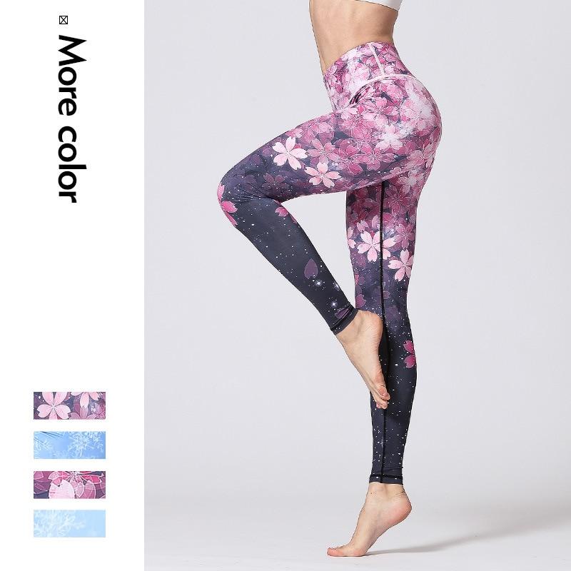 Women Fitness Pants Slim High Waist Sport Leggings Gym Elastic Romantic Printed Long Leggins For Running Tummy Control Pants