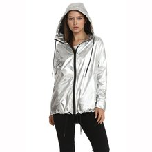 New Popular Women's Metallic Color Loose Hoodie Cool Zip Waterproof Women'S Jacket