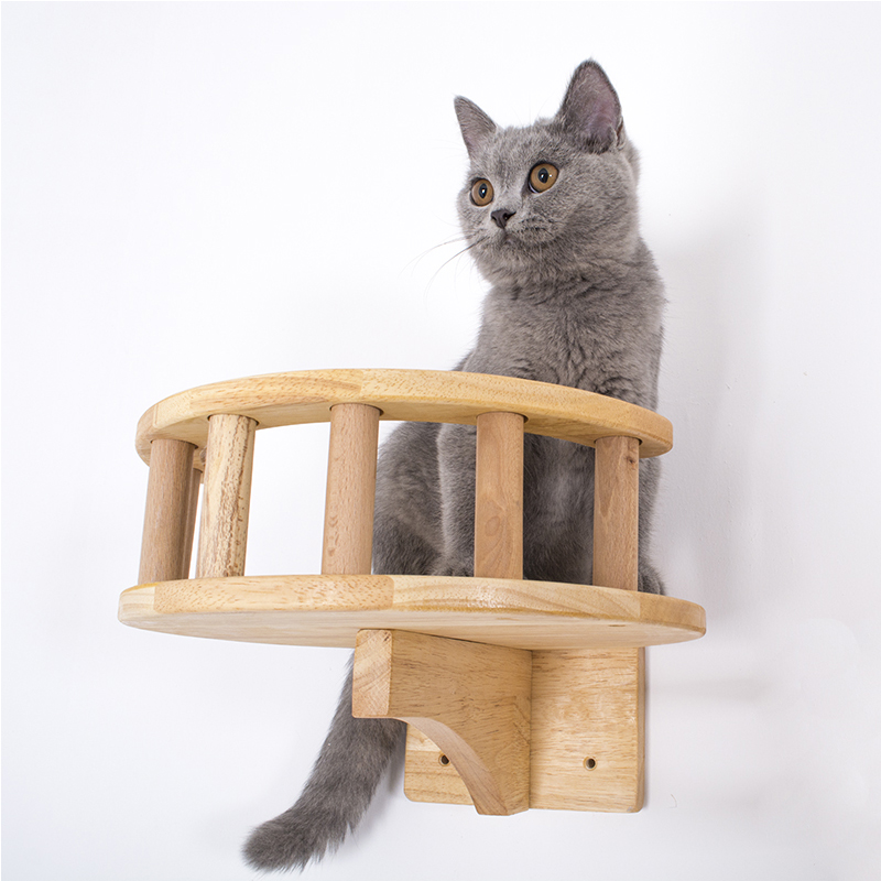 <font><b>Pet</b></font> Furniture Wooden Climbing Frame <font><b>Cat</b></font> Wall Steps <font><b>Cat</b></font> <font><b>Tree</b></font> <font><b>Tower</b></font> Wall Hanging Kitten Toy House Stratch Post with Guardrail image