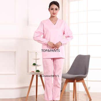 Women Scrub Set Long Sleeve Scrub Top Pure Cotton V Neck Medical Unifroms Casual Scrub Pants Pharmacy Workwear Dentist Scrubs
